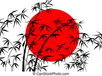 Flag of Japan and bamboo - Flag of Japan and silhouette of...