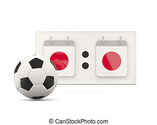 Flag of japan, football with scoreboard
