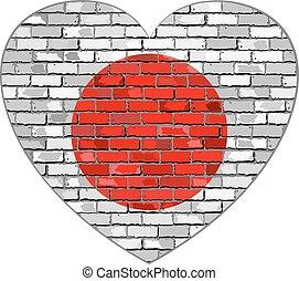 Flag of Japan in heart shape