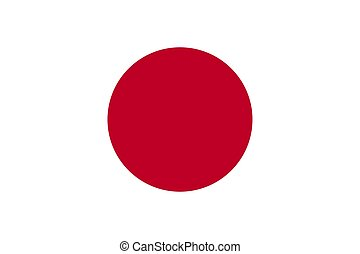 Flag of Japan in national official colors and proportions, vector.