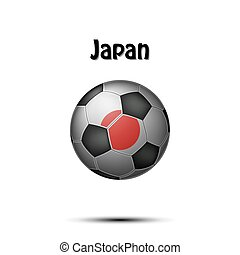 Flag of  Japan in the form of a soccer ball