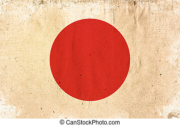 flag of japan - old and worn paper style