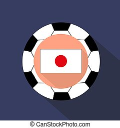 Flag of Japan on a blue background. Soccer ball