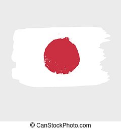 Flag of Japan on a gray background.