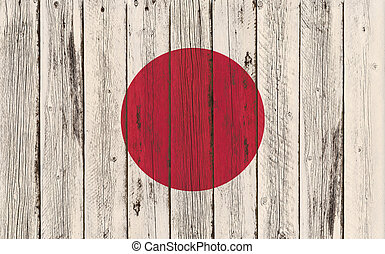 Flag of Japan painted on wooden frame
