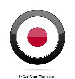 Flag of Japan. Shiny black round button.