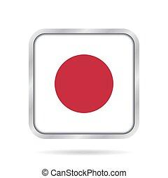 Flag of Japan. Shiny metallic gray square button.