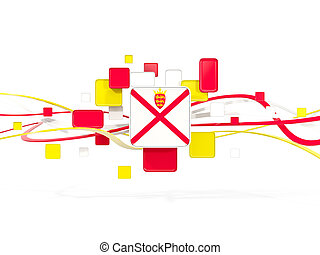 Flag of jersey, mosaic background with lines