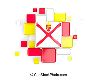 Flag of jersey, mosaic background