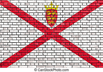 flag of Jersey painted on brick wall