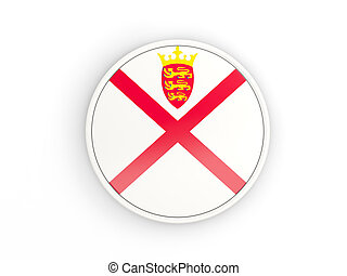 Flag of jersey. Round icon with frame