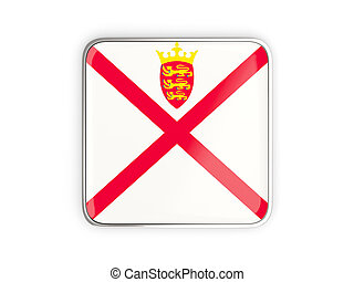 Flag of jersey, square icon with metallic border. 3D illustration