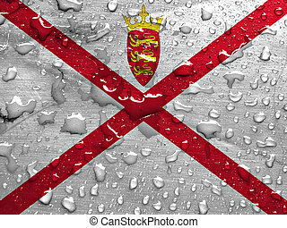flag of Jersey with rain drops