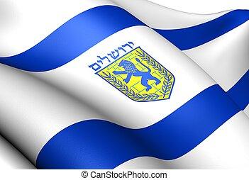 Flag of Jerusalem. Close Up.