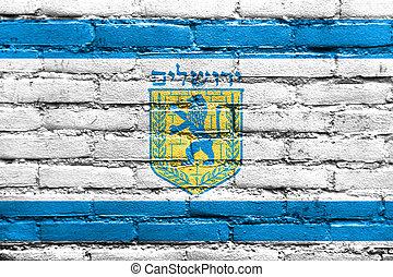 Flag of Jerusalem, painted on brick wall