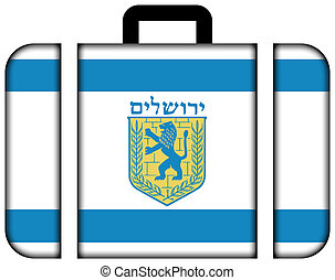 Flag of Jerusalem. Suitcase icon, travel and transportation concept
