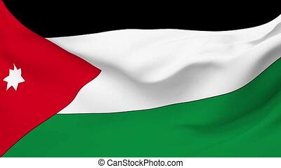 Flag of Jordan - Flag of the Jordan waving in the wind....