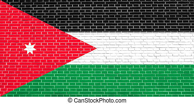Flag of Jordan on brick wall texture background