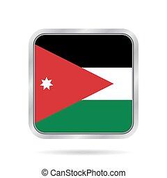 Flag of Jordan. Shiny metallic gray square button.