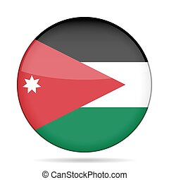 Flag of Jordan. Shiny round button.