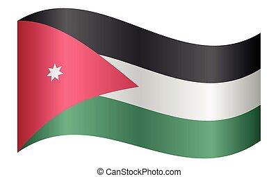 Flag of Jordan waving on white background