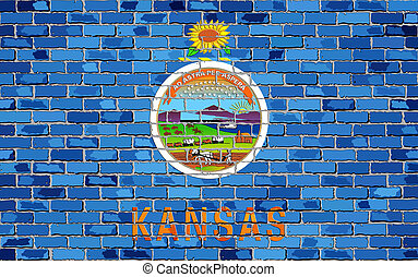 Flag of Kansas on a brick wall with effect