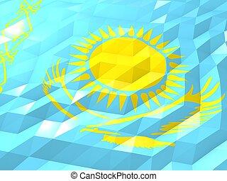 Flag of Kazakhstan 3D Wallpaper Illustration