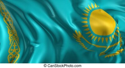 Beautiful 3d animation of the Kazakhstan flag in loop mode