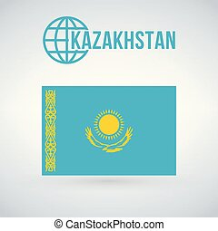 flag of kazakhstan vector illustration isolated on modern background with shadow.