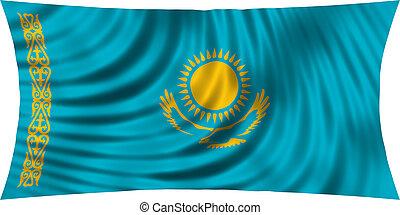 Flag of Kazakhstan waving isolated on white