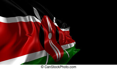 Beautiful 3d animation of Kenya flag with alpha channel