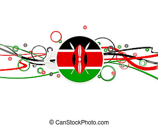 Flag of kenya, circles pattern with lines