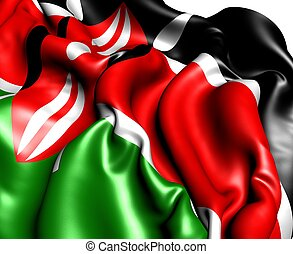 Flag of Kenya. Close up.