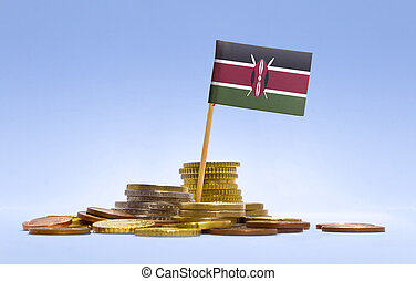 Flag of Kenya in a stack of coins.(series)