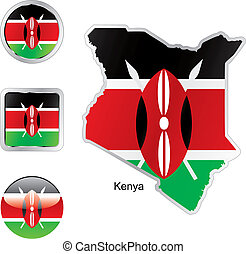 flag of kenya in map and web buttons shapes