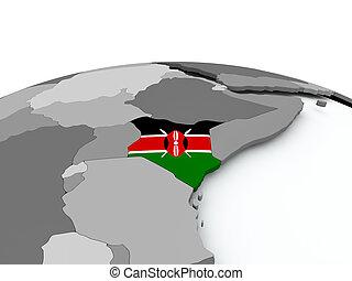 Flag of Kenya on globe