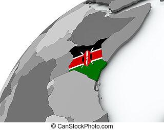 Flag of Kenya on grey globe