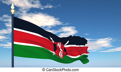 Flag Of Kenya on the background of the sky and flying...