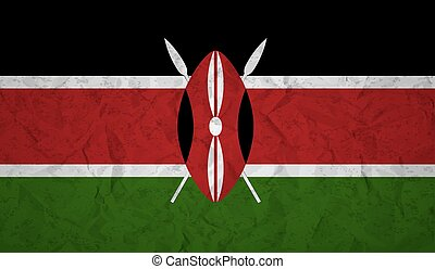 Flag of Kenya with the effect of crumpled paper and grunge -...
