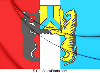 Flag of Khabarovsk, Russia. 3D Illustration.