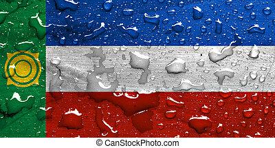 flag of Khakassia with rain drops