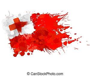 Flag of Kingdom of Tonga made of colorful splashes
