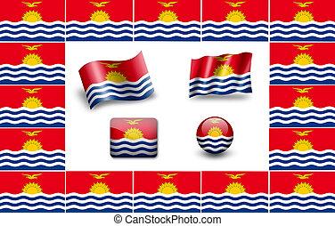 Flag of Kiribati. icon set. flags frame.
