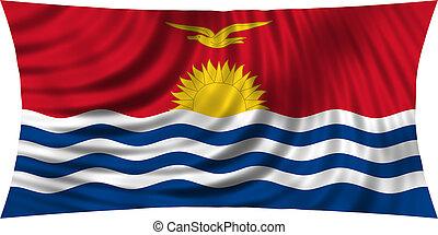 Flag of Kiribati waving isolated on white
