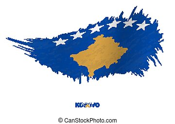 Flag of Kosovo in grunge style with waving effect.