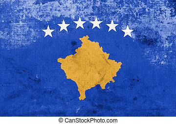 Flag of Kosovo, with a vintage and old look