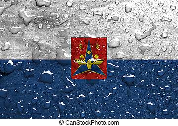 flag of Kotlas with rain drops