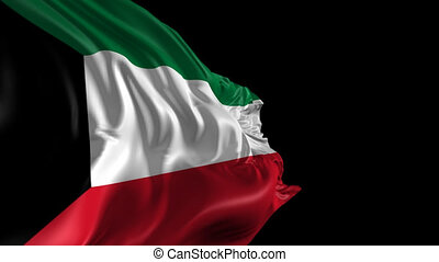 Flag of Kuwait - Beautiful 3d animation of Kuwait with alpha...