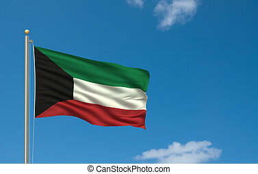 Flag of Kuwait with flag pole waving in the wind on front of...
