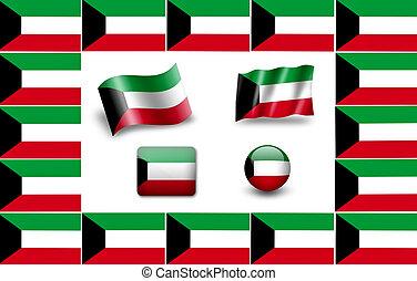 Flag of Kuwait. icon set. flags frame.